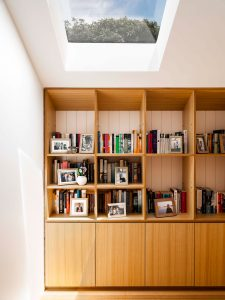 Bookshelves with skylight