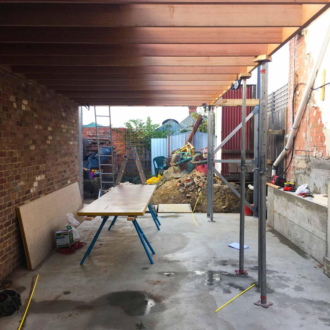 Ryde Street Stage II slab, brick wall, ceiling